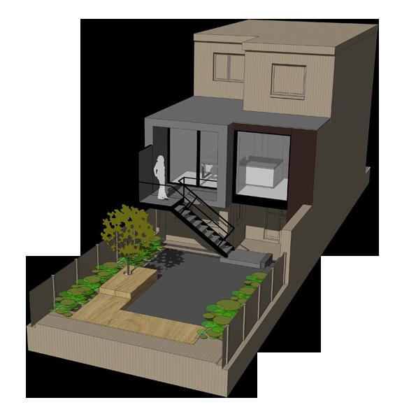Architecte bertrand vanturenhout projets en cours - Plan de maison mitoyenne ...